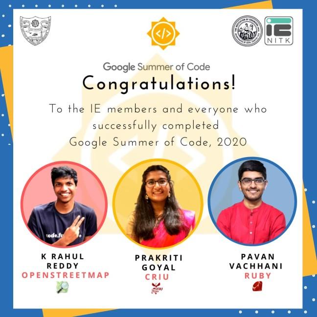 3 members of IE NITK successfully completed Google Summer of Code, 2020